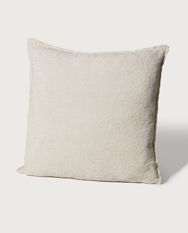 Oversized Embroidered Chenille Pillow, Pearl - Magaschoni Home - JANE + MERCER
