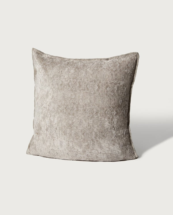 Oversized Embroidered Chenille Pillow, Silver - Magaschoni Home - JANE + MERCER