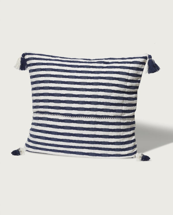 Oversized Stripe with Tassels, Navy/White - Magaschoni Home - JANE + MERCER