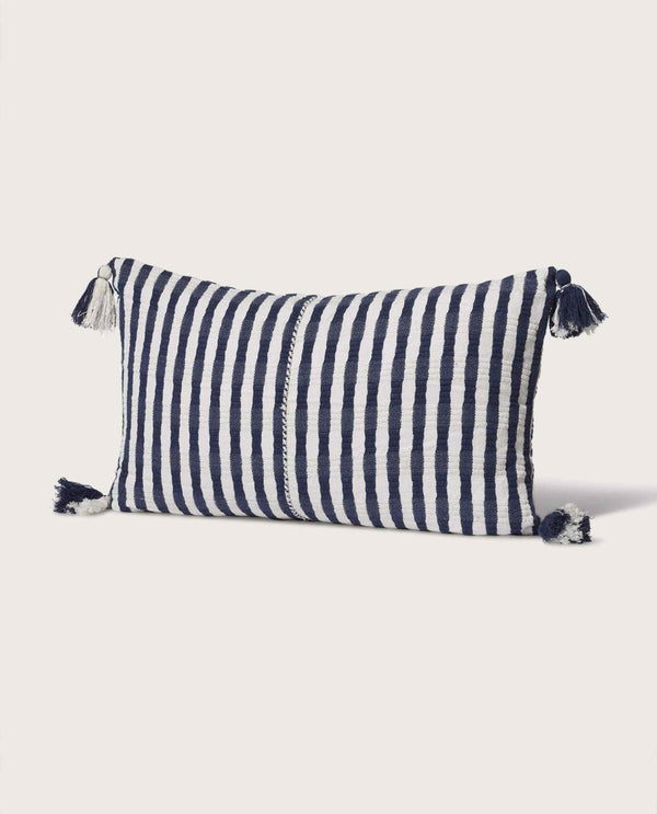 Stripe Pillow with Tassels, Navy/White - Magaschoni Home - JANE + MERCER