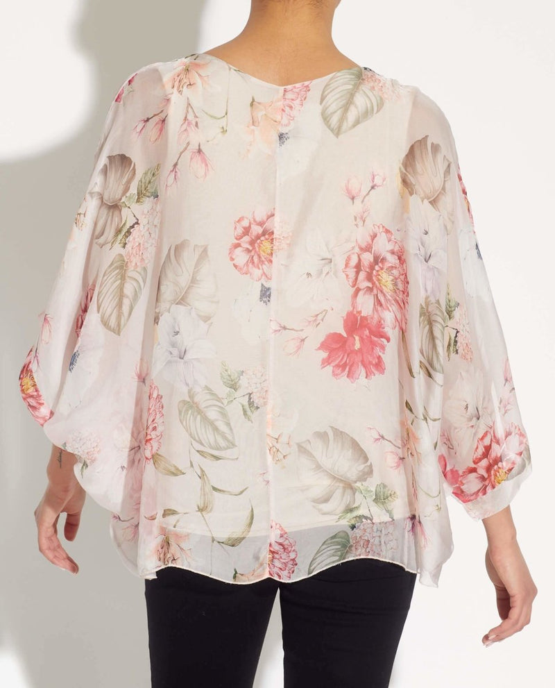 Floral Printed Poncho - Belle France - JANE + MERCER