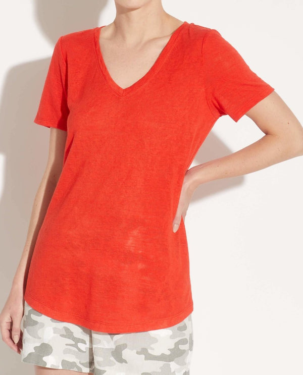 V-Neck Short Sleeve Slub Jersey Top - T Tahari - JANE + MERCER