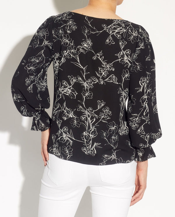 Pleated Blouson 3/4 Sleeve Blouse - T Tahari - JANE + MERCER