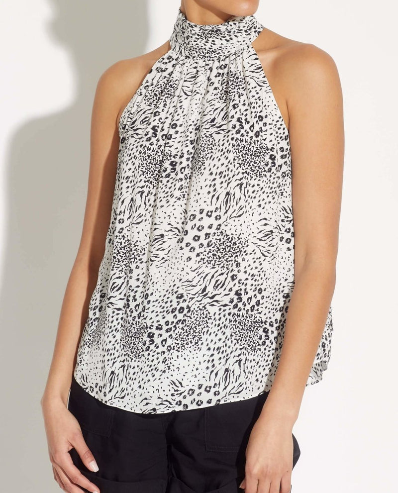 Sleeveless Gathered Mockneck Halter Top - T Tahari - JANE + MERCER