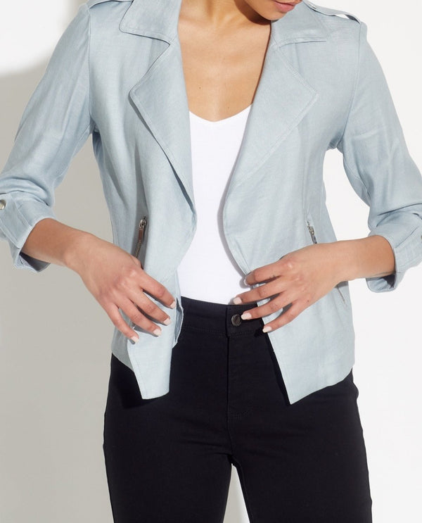 Linen Blend 3/4 Sleeve Notch Collar Jacket - T Tahari - JANE + MERCER