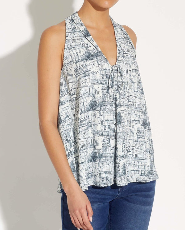 Sleeveless Tie Front Printed Blouse - T Tahari - JANE + MERCER