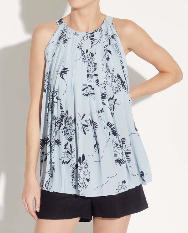Sleeveless Crew Neck Pleated Halter Top - T Tahari - JANE + MERCER