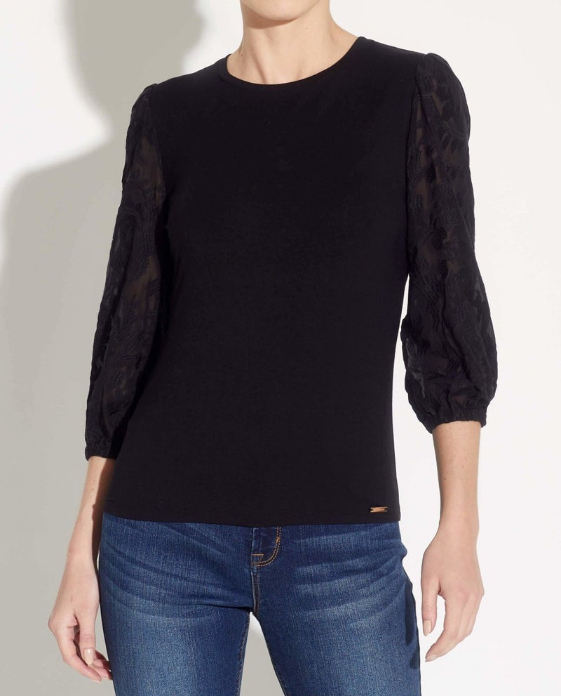 Mixed Fabric 3/4 Embroidered Sleeve Top - T Tahari - JANE + MERCER