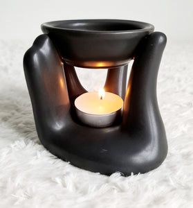 Black Caring Hand Oil Burner + 2 Complimentary Wax Melts - Velvet Rose Home