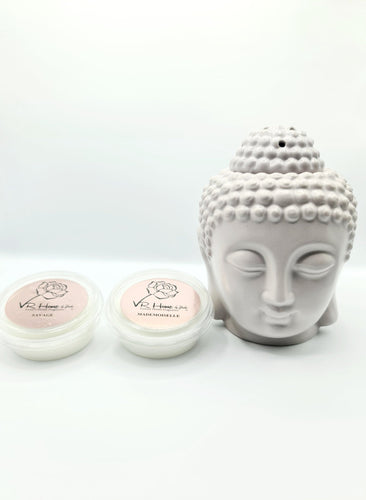 Light Grey Traditional Buddha Head Oil Burner + 2 Complimentary Wax Melts - VR Home by Yinka