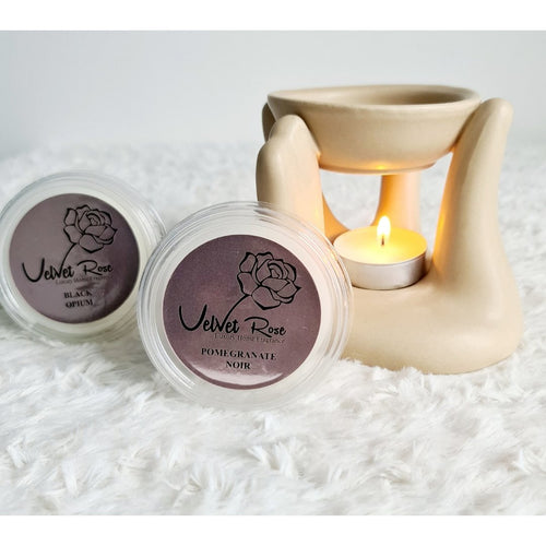 Tan Caring Hand Oil Burner + 2 Complimentary Wax Melts - Velvet Rose Home