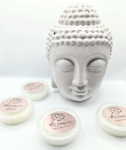 Traditional XL Buddha Head Oil Burner + 4 Complimentary Wax Melts - Light Grey - VR Home by Yinka