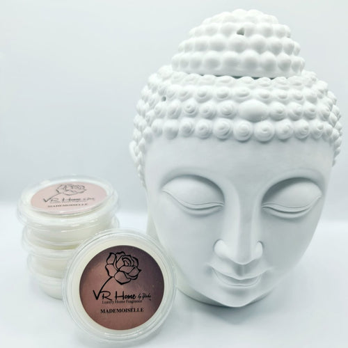 Traditional XL Buddha Head Oil Burner + 4 Complimentary Wax Melts - White - VR Home by Yinka