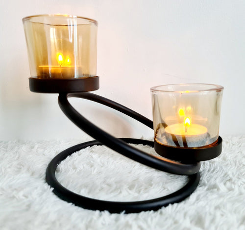 Two Step Black & Glass Geo Tealight Candle Holder Centrepiece - Velvet Rose Home