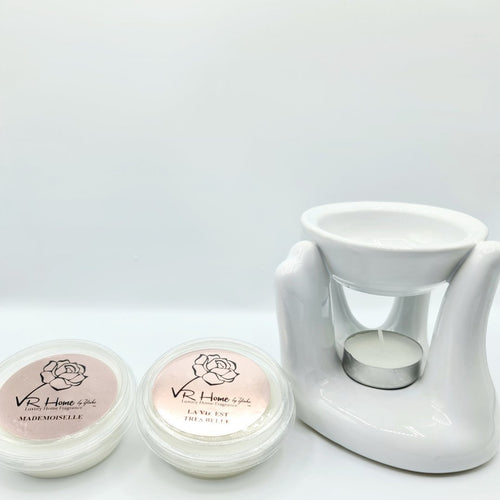 White Black Caring Hand Oil Burner + 2 Complimentary Wax Melts - VR Home by Yinka