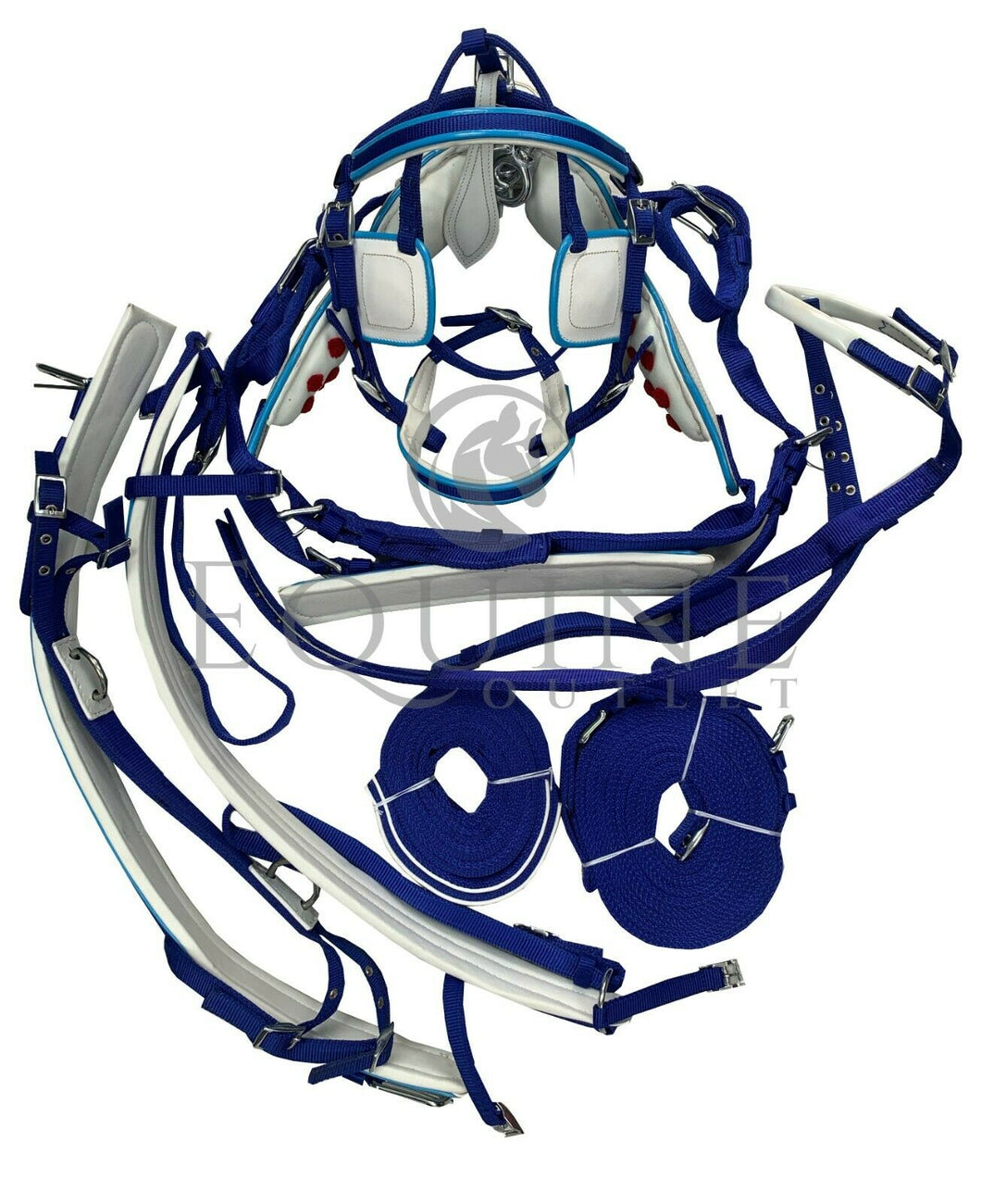 Deluxe Webbing Driving Harness - Blue With White Detailing