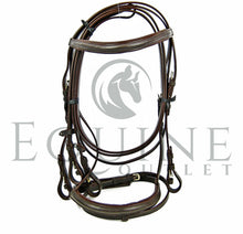 Load image into Gallery viewer, Leather Flash Noseband Bridle, with Rubber Reigns