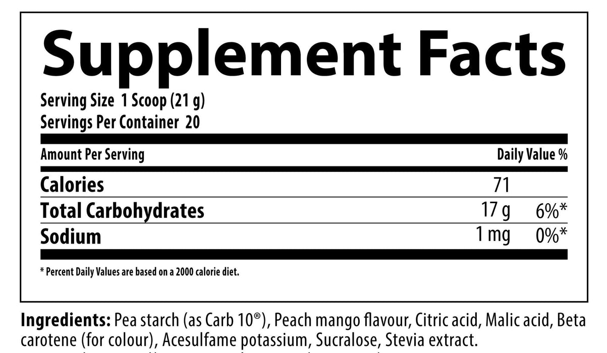 Nutrabolics Keto Carb Peach Mango Supplement Facts