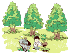 Child recycling and planting trees