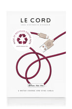 "Load image into Gallery viewer, ""Le Cord"" - the world's only Apple MFI certified charge and sync cable with connector shells that are made of recycled ocean fishing net plastics"