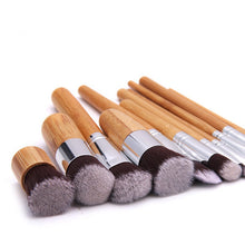 Load image into Gallery viewer, Bamboo Fibre Makeup Sustainable Eco-friendly Brush set 11 Pieces - Green 'N' Groovy