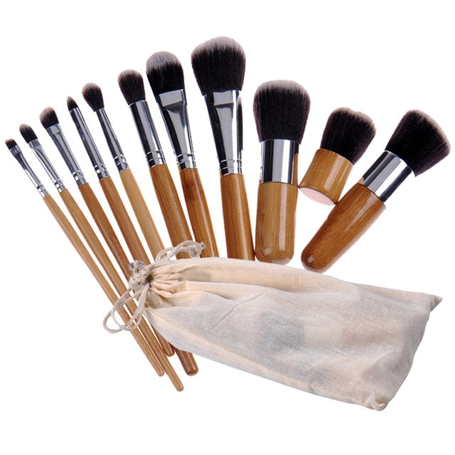 Bamboo Fibre Makeup Sustainable Eco-friendly Brush set 11 Pieces - Green 'N' Groovy