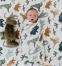 Load image into Gallery viewer, Baby in Dinosaur Baby Blanket - Green 'N' Groovy - Products