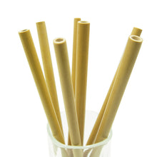 Load image into Gallery viewer, 10 Piece Natural Bamboo straw set in a cup - Green 'N' Groovy