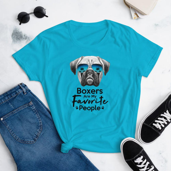 Boxers Are My Favorite People Funny Boxer Shirt for Women-Caribbean Blue-Funny Dog Shirts.com