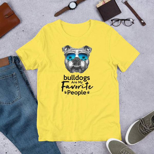 Bulldogs Are My Favorite People Funny Bulldog Shirt for Men-Yellow-Funny Dog Shirts.com