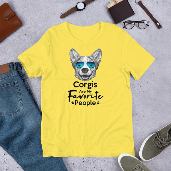 Corgis Are My Favorite People Funny Corgi Shirt for Men-Yellow-Funny Dog Shirts.com