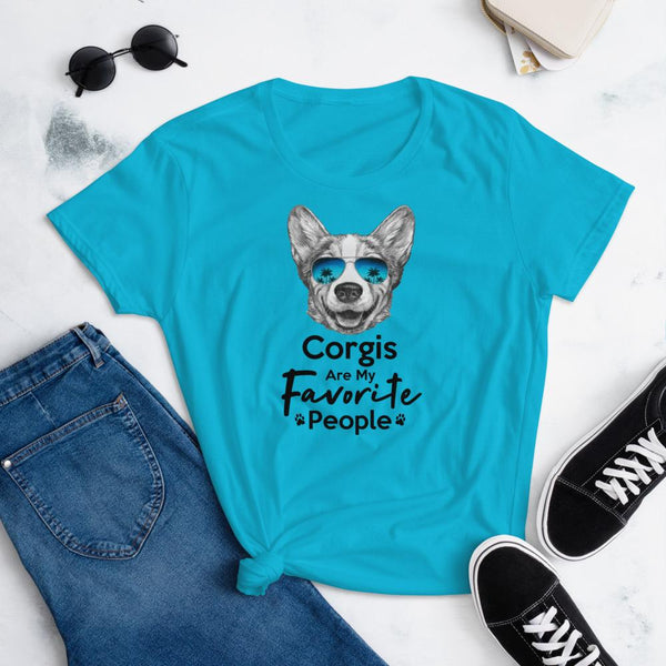 Corgis Are My Favorite People Funny Corgi Shirt for Women-Caribbean Blue-Funny Dog Shirts.com