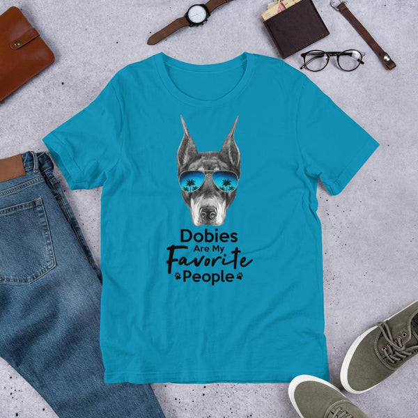 Dobies Are My Favorite People Funny Doberman Shirt for Men-Aqua-Funny Dog Shirts.com