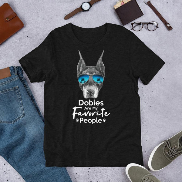 Dobies Are My Favorite People Funny Doberman Shirt for Men-Black Heather-Funny Dog Shirts.com