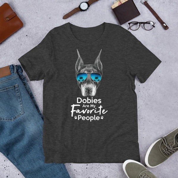 Dobies Are My Favorite People Funny Doberman Shirt for Men-Dark Grey Heather-Funny Dog Shirts.com