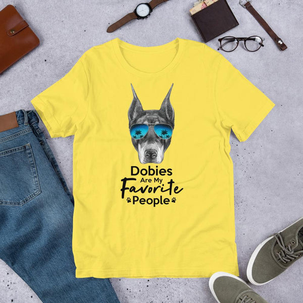 Dobies Are My Favorite People Funny Doberman Shirt for Men-Yellow-Funny Dog Shirts.com