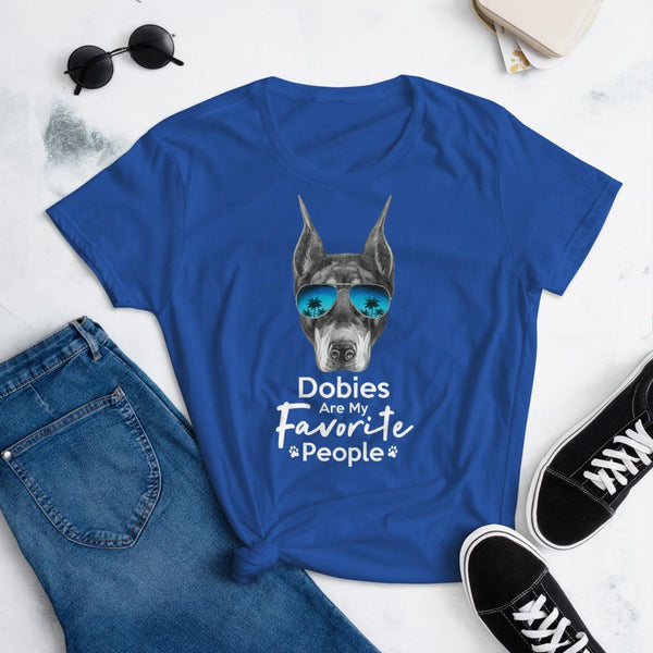 Dobies Are My Favorite People Funny Doberman Shirt for Women-Royal Blue-Funny Dog Shirts.com