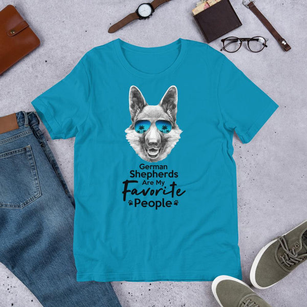 German Shepherds Are My Favorite People Funny Dog T-Shirt for Men-Aqua-Funny Dog Shirts.com