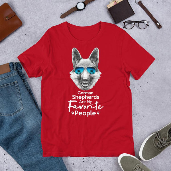 German Shepherds Are My Favorite People Funny Dog T-Shirt for Men-Red-Funny Dog Shirts.com