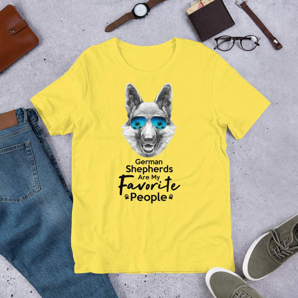 German Shepherds Are My Favorite People Funny Dog T-Shirt for Men-Yellow-Funny Dog Shirts.com
