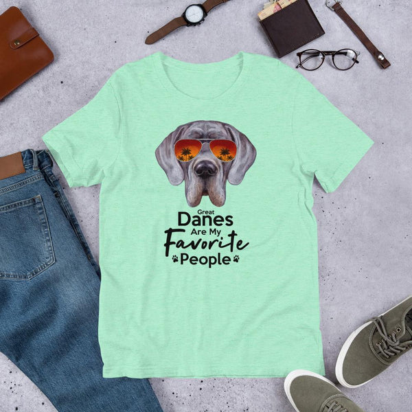 Great Danes Are My Favorite People Funny Great Dane Shirt for Men-Heather Mint-Funny Dog Shirts.com