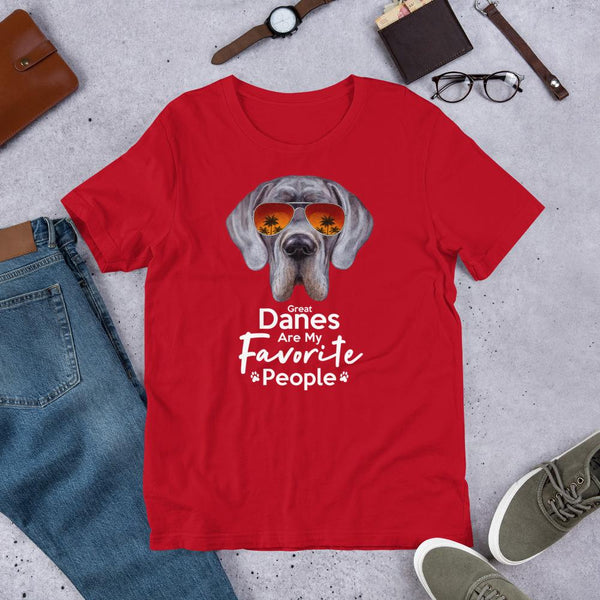 Great Danes Are My Favorite People Funny Great Dane Shirt for Men-Red-Funny Dog Shirts.com