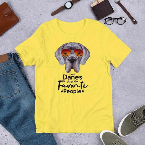 Great Danes Are My Favorite People Funny Great Dane Shirt for Men-Yellow-Funny Dog Shirts.com