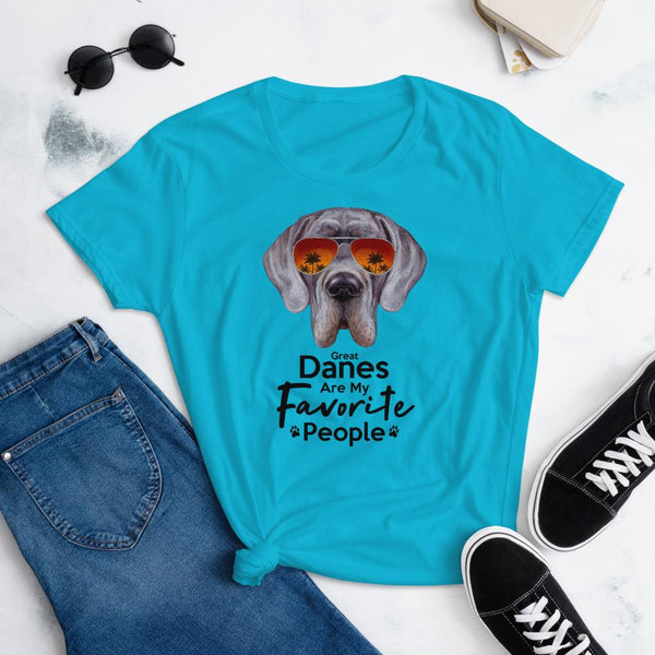 Great Danes Are My Favorite People Funny Great Dane Shirt for Women-Caribbean Blue-Funny Dog Shirts.com