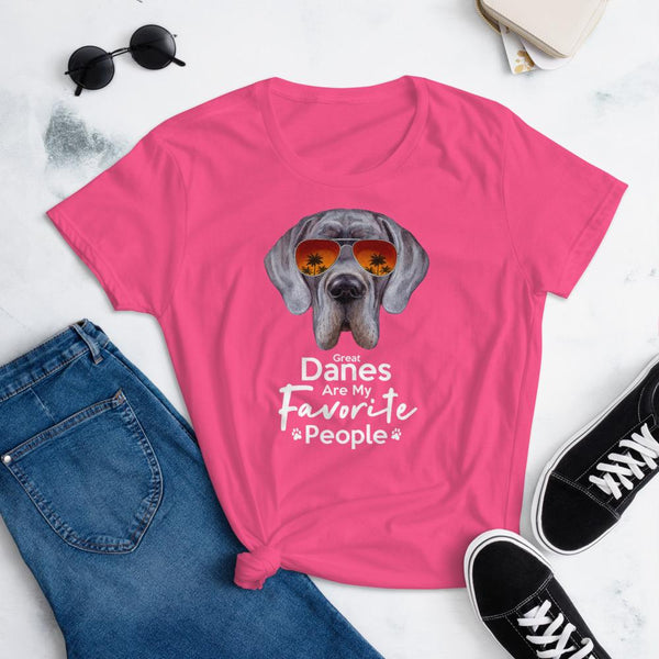 Great Danes Are My Favorite People Funny Great Dane Shirt for Women-Hot Pink-Funny Dog Shirts.com