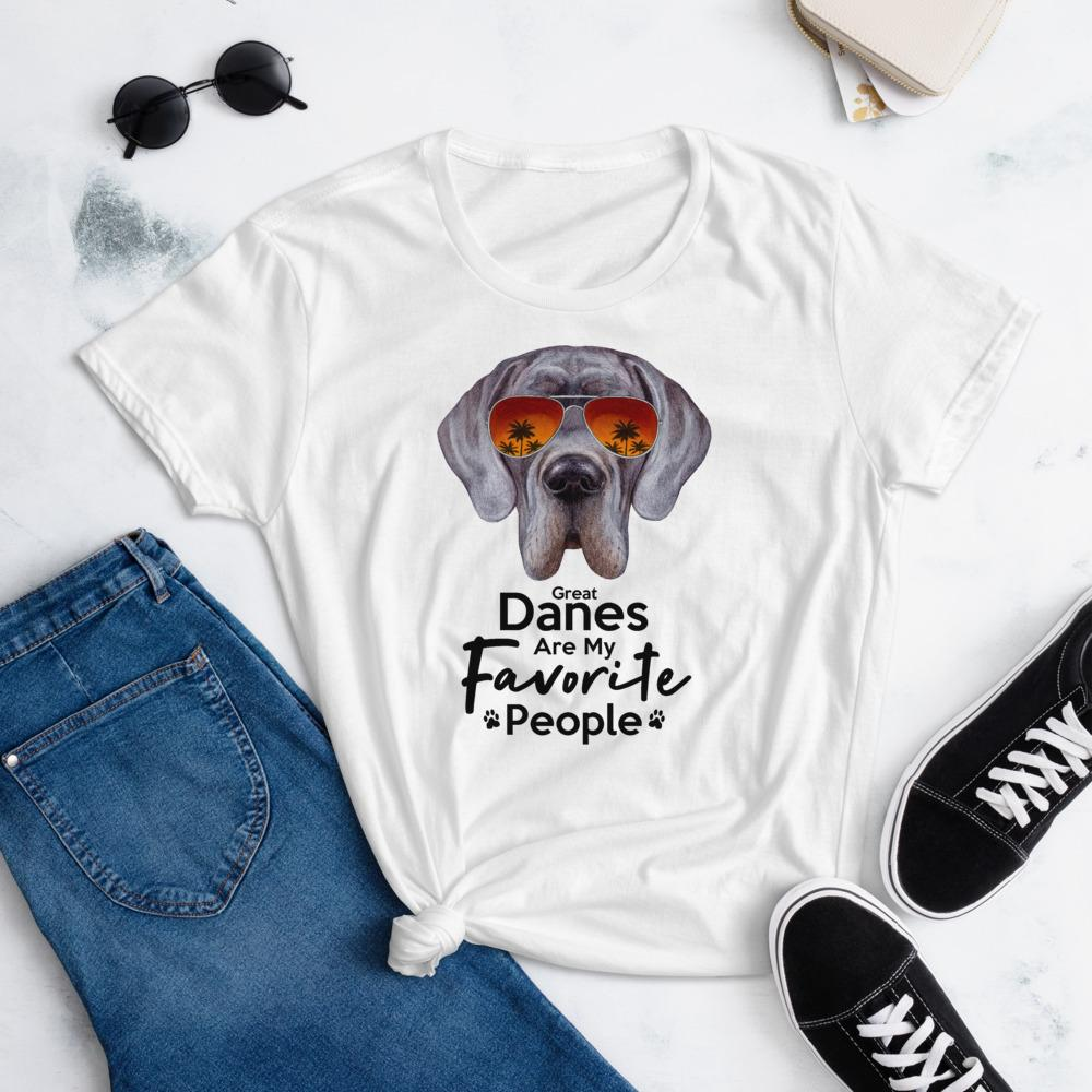 Great Danes Are My Favorite People Funny Great Dane Shirt for Women-White-Funny Dog Shirts.com