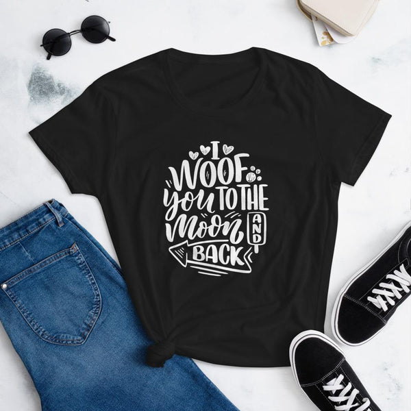 I Woof You to the Moon and Back T-Shirt for Women-Black-Funny Dog Shirts.com