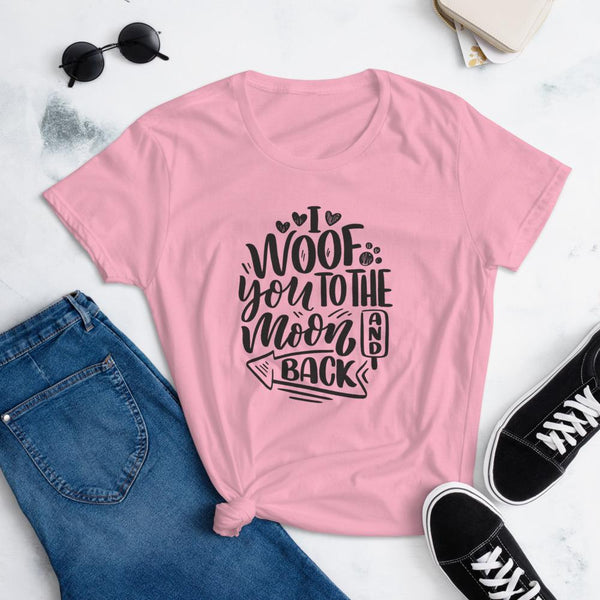 I Woof You to the Moon and Back T-Shirt for Women-Charity Pink-Funny Dog Shirts.com