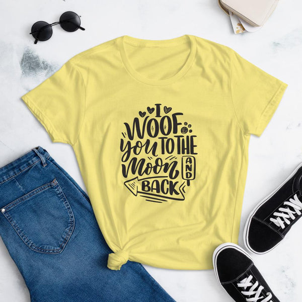 I Woof You to the Moon and Back T-Shirt for Women-Spring Yellow-Funny Dog Shirts.com