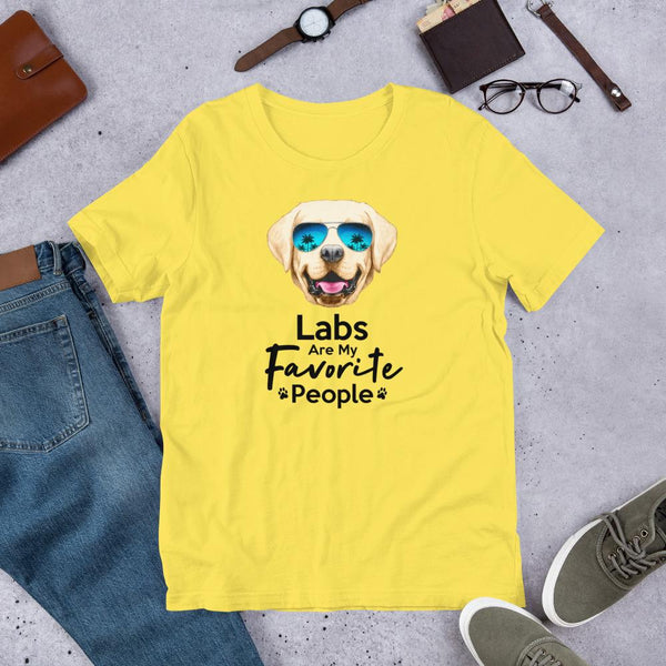 Labs Are My Favorite People Funny Labrador T-Shirt for Men-Yellow-Funny Dog Shirts.com